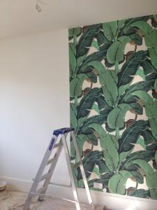 Hand printed wallcovering